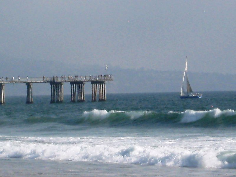 Sailboat with pier