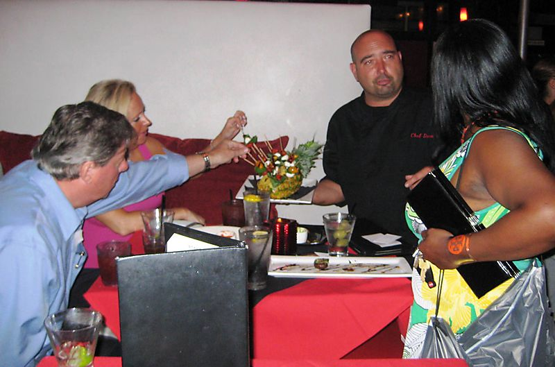 Chef serving food