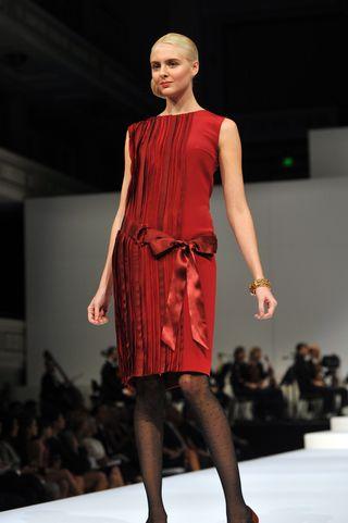PeytonHoge- Garnet silk strip dress-embroidered belt