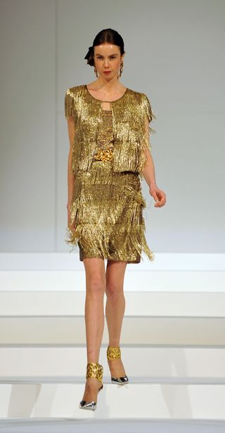 PeytonHoge-Gold fringe dress