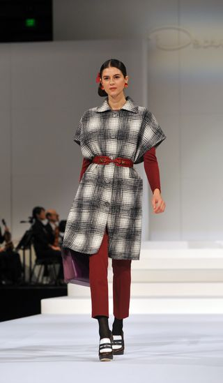PeytonHoge-black silk star-checked tweed coat