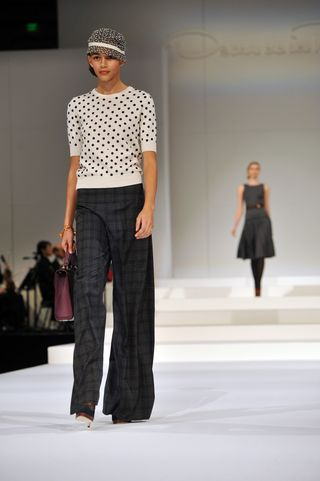 PeytonHoge-Silk Sweater with plaid steel pants