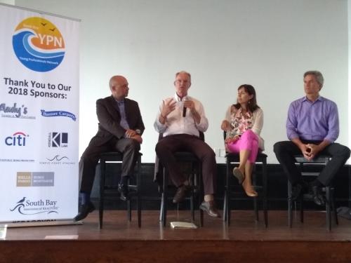 Left to right - SBAOR Board Member; Jeff Duclos, Mayor of Hermosa Beach; Amy Howorth, Mayor of Manhattan Beach and Bill Brand, Mayor of Redondo Beach.